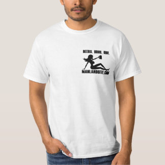 Manland White T Shirt with Beer Girl Logo