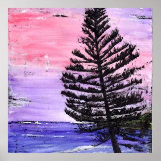 Manly Beach Sunset Pine Tree Print