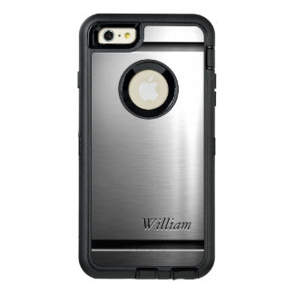 Manly Brush Metal Stainless Steel Look OtterBox Defender iPhone Case