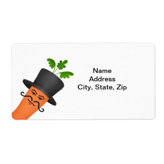 Manly fancy carrot with a handlebar moustache shipping label
