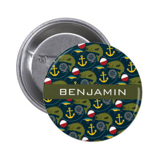 Manly Fisherman Pattern with Custom Name Button