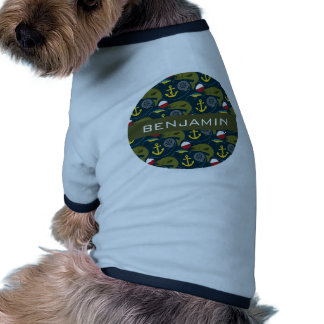 Manly Fisherman Pattern with Custom Name Dog Clothing