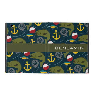 Manly Fisherman Pattern with Custom Name iPad Cover