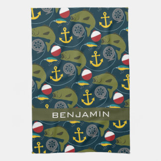 Manly Fisherman Pattern with Custom Name Kitchen Towels