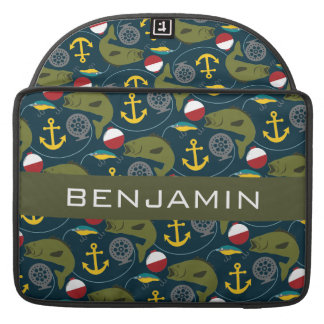 Manly Fisherman Pattern with Custom Name Sleeves For MacBook Pro