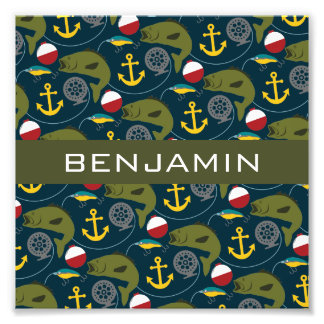 Manly Fisherman Pattern with Custom Name Photo Print