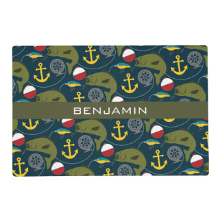 Manly Fisherman Pattern with Custom Name Placemat