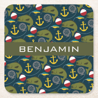 Manly Fisherman Pattern with Custom Name Square Paper Coaster