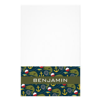 Manly Fisherman Pattern with Custom Name Stationery