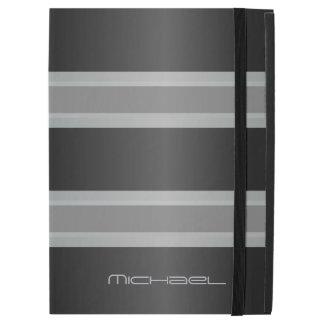 Manly Gray Black Stripes Monogram iPad Pro Case