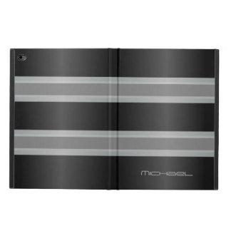 Manly Gray Black Stripes Monogram Powis iPad Air 2 Case