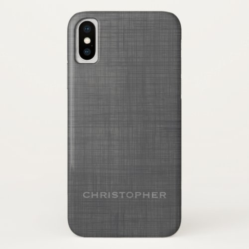 Manly Linen Look with Gray Name Phone Case