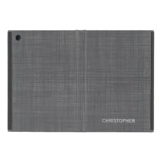 Manly Linen Look With Gray Personalized Name Case For Ipad Mini at Zazzle
