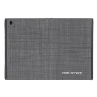 Manly Linen Look with Gray Personalized Name Case For iPad Mini