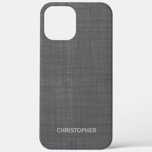 Manly Linen Look with Gray Personalized Name Phone Case