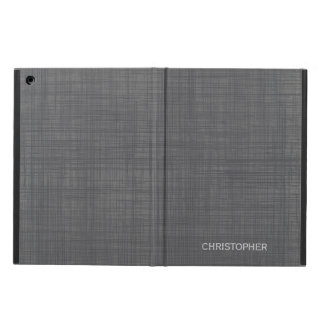 Manly Linen Look with Gray Personalized Name Case For iPad Air