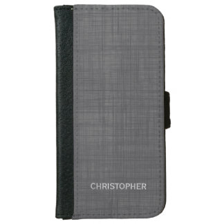 Manly Linen Look with Gray Personalized Name iPhone 6/6s Wallet Case