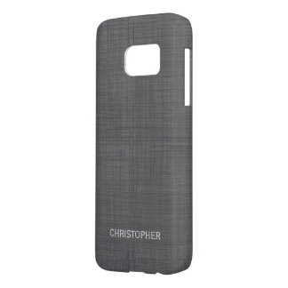 Manly Linen Look with Gray Personalized Name Samsung Galaxy S7 Case