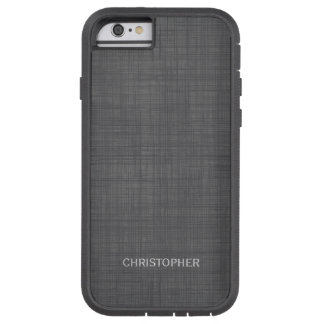 Manly Linen Look with Gray Personalized Name Tough Xtreme iPhone 6 Case