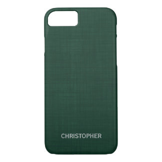 Manly Linen Look with Green Personalized Name iPhone 7 Case