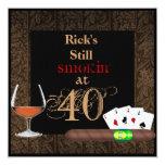 "Manly MENS 40th Birthday Cigars,Poker INVITATIONS 5.25"" Square Invitation Card"