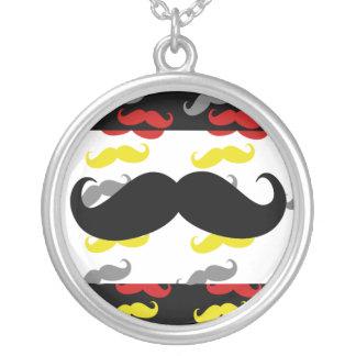 Manly Mustache Hair Colors Round Pendant Necklace