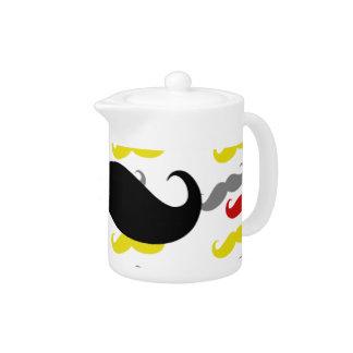 Manly Mustache Hair Colors Teapot