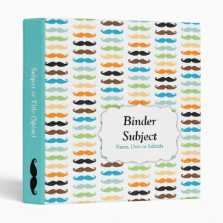 Manly Mustaches 3 Ring Binder