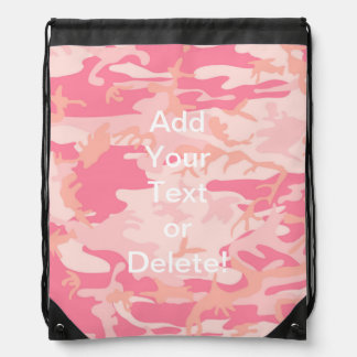 Manly Pink Camo Drawstring Backpack