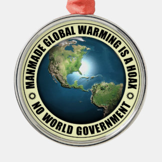 Manmade Global Warming Hoax Round Metal Christmas Ornament
