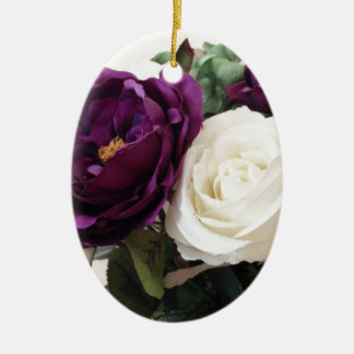 Manmade Purple And White Roses Ceramic Ornament
