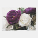 Manmade Purple And White Roses Hand Towels