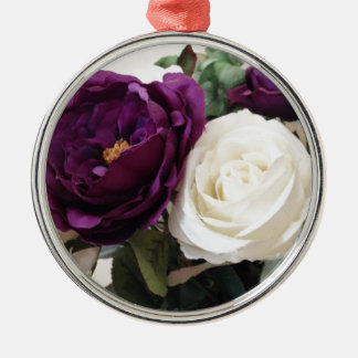 Manmade Purple And White Roses Metal Ornament