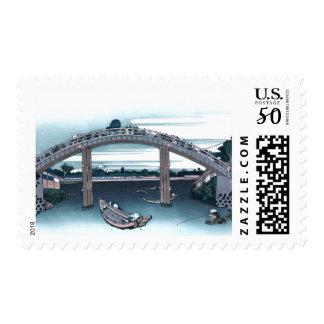 Mannen Bridge, Fukaga Ukiyo-e by Hokusai, Japanese Postage