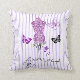Mannequin Butterflies Themed Design Personalized Throw Pillow