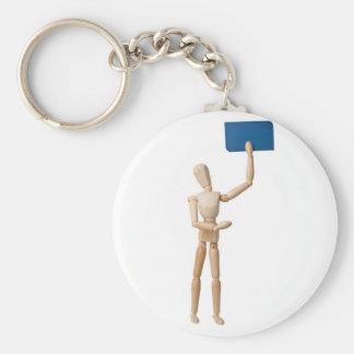 Mannequin holding business card basic round button keychain