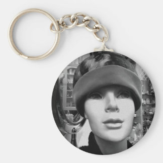 Mannequin Lady in Vintage Hat Key Chain