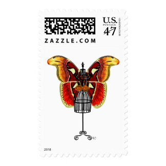 Mannequin Red And Yellow Butterfly Postage Stamp