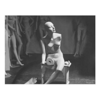 Mannequin with leg and arm removed post card