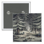 Manner of Making a Resting Place on a Winter Night 2 Inch Square Button