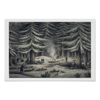 Manner of Making a Resting Place on a Winter Night Print