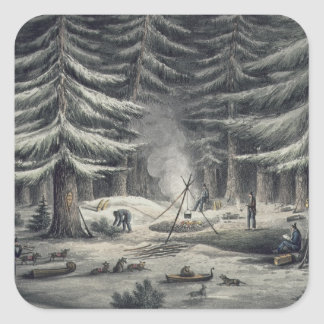 Manner of Making a Resting Place on a Winter Night Square Sticker