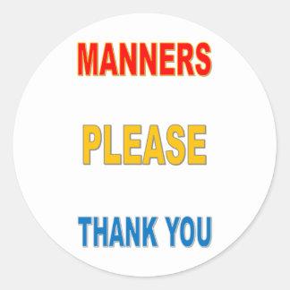 MANNERS CLASSIC ROUND STICKER