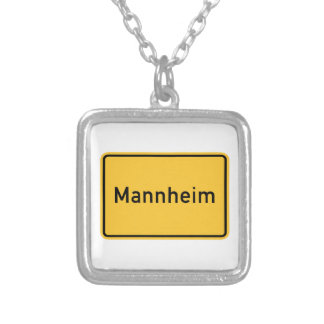 Mannheim, Germany Road Sign Square Pendant Necklace