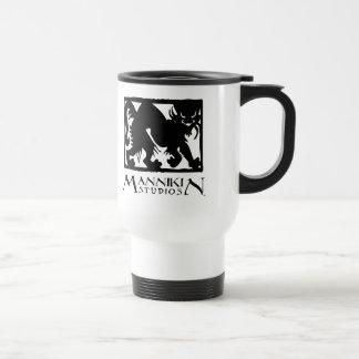 Mannikin Studios logo travel mug