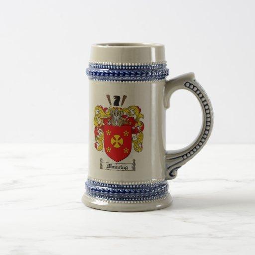 Manning Coat of Arms Stein / Manning Crest Stein Coffee Mugs
