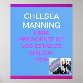 Manning para presidente de Los Estados Unidos 2016 Poster