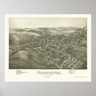 Mannington, mapa panorámico de WV - 1897 Póster