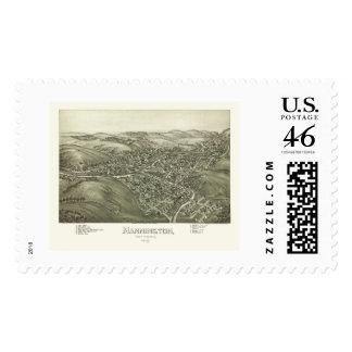 Mannington, WV Panoramic Map - 1897 Postage Stamps