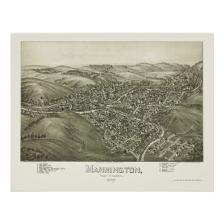 Mannington, WV Panoramic Map - 1897 Poster